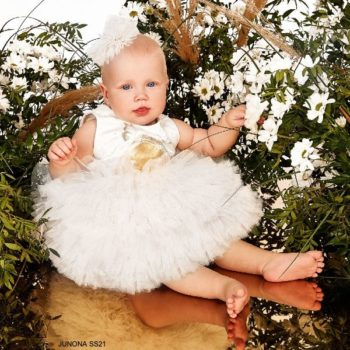 Junona Baby Girl Ivory Gold Butterfly Print Puff Ball Special Occasion Dress