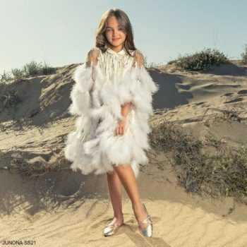 Junona Girls Ivory Gold Luxury Feather Special Occasion Dress Headband