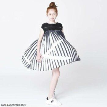 KARL LAGERFELD KIDS Girls Mini Me Black & White Pleated Party Dress