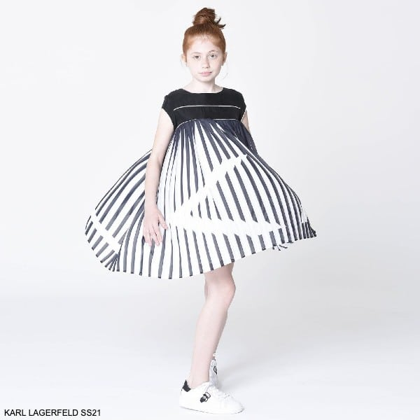 KARL LAGERFELD KIDS Girls Mini Me Black & White Pleated Party Dress