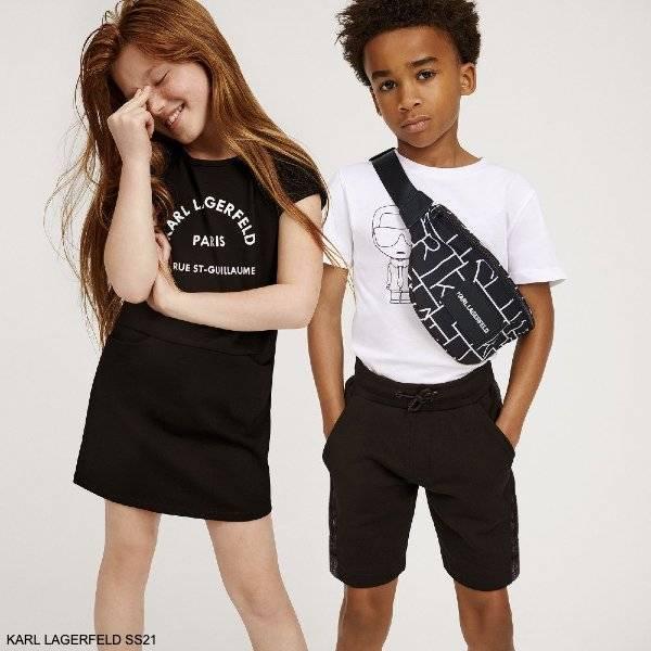 Karl Lagerfeld Girls Black Rue St Guillaume Logo Dress Boys White Karl Iconik Bad Cat T-Shirt