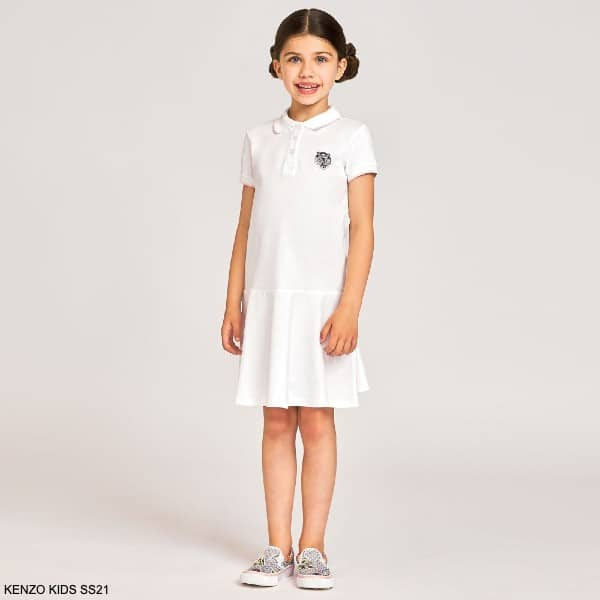 Kenzo Kids Girls White Tiger Logo Preppy Cotton Short Sleeve Polo Dress