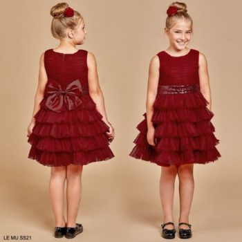 Le Me Girls Burgundy Red Tulle Tiered Sequin Bow Party Dress