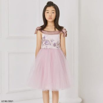 Le Me Girls Pink Lilac Flower Bow Shoulder Tulle Party Dress