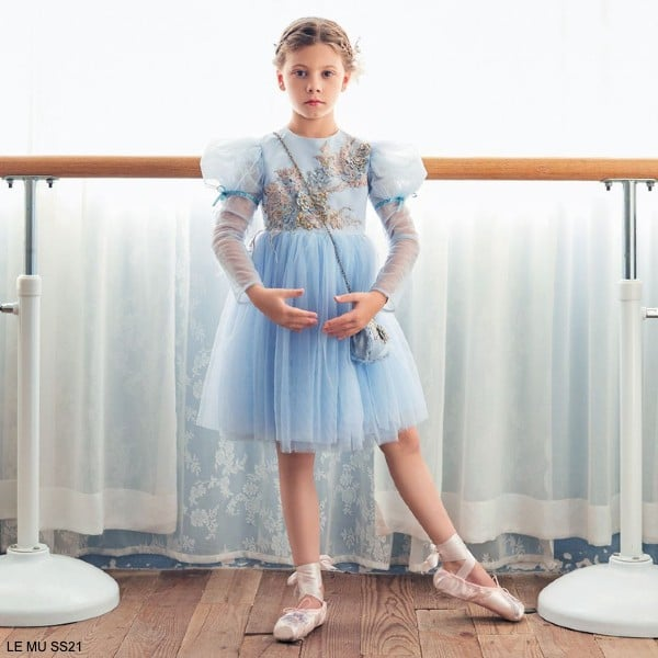 Le Mu Girls Blue Gold Flower Tulle Special Occasion Dress