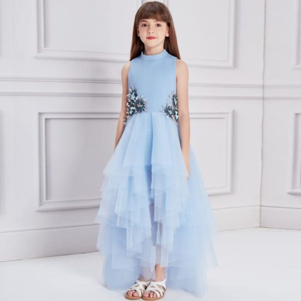Le Mu Girls Blue Tulle Silver Flower Long Special Occasion Dress