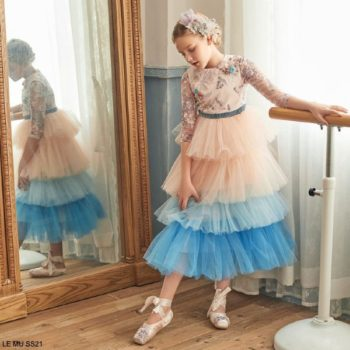 Le Mu Girls Flower Tiered Pink Blue Tulle Party Dress
