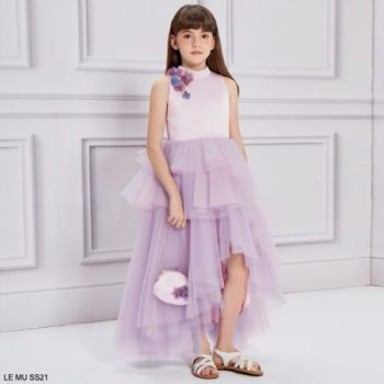 Le Mu Girls Pink Blue Tulle Sequin Flower Long Party Dress