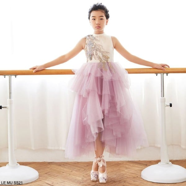 Le Mu Girls Pink Satin Tulle Gold Blue Embroidery Dress