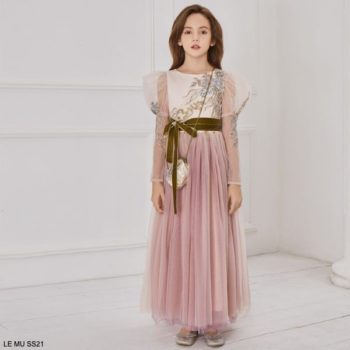 Le Mu Girls Pink Tulle Blue Flower Sheer Sleeve Long Special Occasion Dress