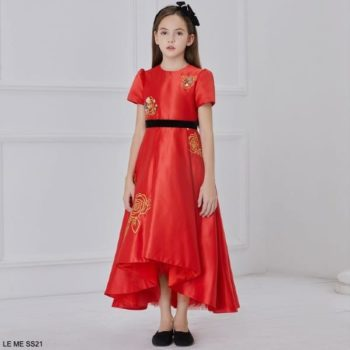 Le Mu Girls Red Gold Flower Embroidered Sequin Satin Party Dress