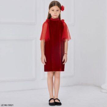 Le Mu Girls Red Velvet Tulle Sheer Sleeve Flower Party Dress