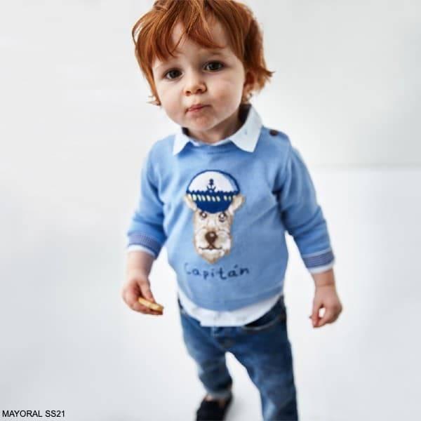 Mayoral Baby Boys Light Blue Captain Dog Cotton Knit Sweater