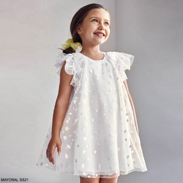 Mayoral Girls White Tulle Polka Dot Glitter Special Occasion Dress