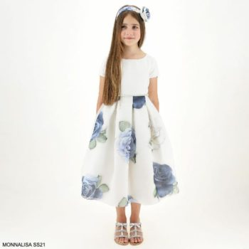 Monnalisa Girls ivory Blue Rose Floral Organza Bell Skirt Special Occasion Dress