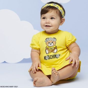 Moschino Baby Girls Yellow Teddy Bear Toy Sparkly White Daisy Logo Dress