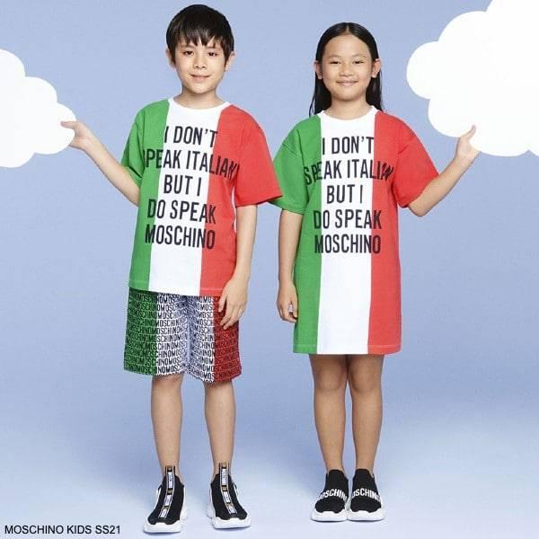 Moschino Kids White Green Red Italian Flag I Dont Speak Italian But I Speak Moschino T-Shirt