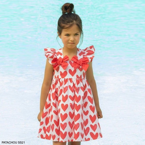 Patachou Girls White & Red Hearts Ruffles Bow Party Dress