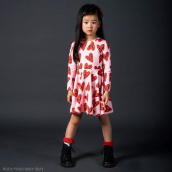 Rock Your Baby Girls Pink Red Hearts Character Eyes Soft Cotton Dress