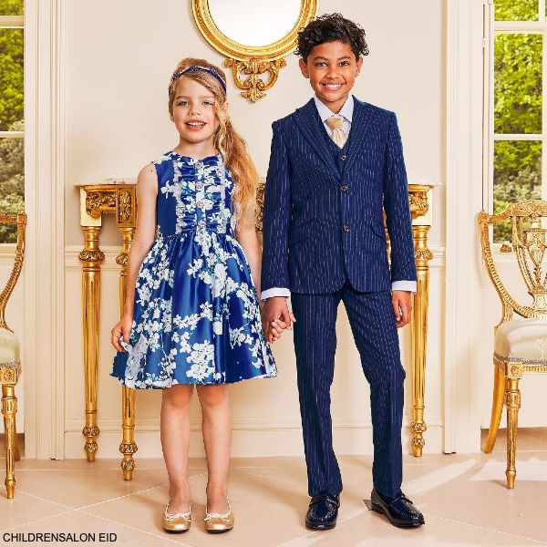 Romano Boys Royal Blue White Pinstripe 3 Piece Special Occasion Suit