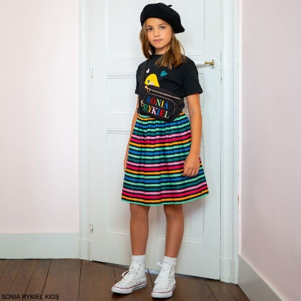 Sonia Rykiel Paris Girls Black Colorful Girl T-Shirt Multi Color Stripe Skirt