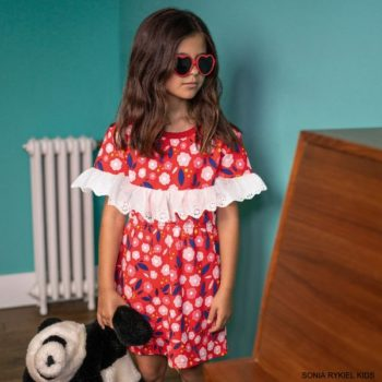 Sonia Rykiel Paris Girls Red Floral Print Broderie Anglaise Ruffle Dress