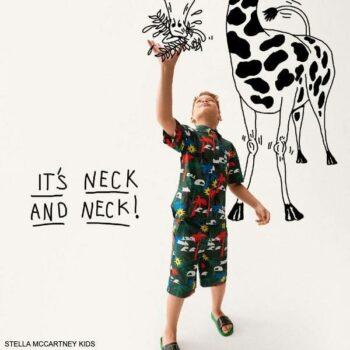Stella McCartney Kids Boys Dark Green Palm Tree Print Shirt Shorts