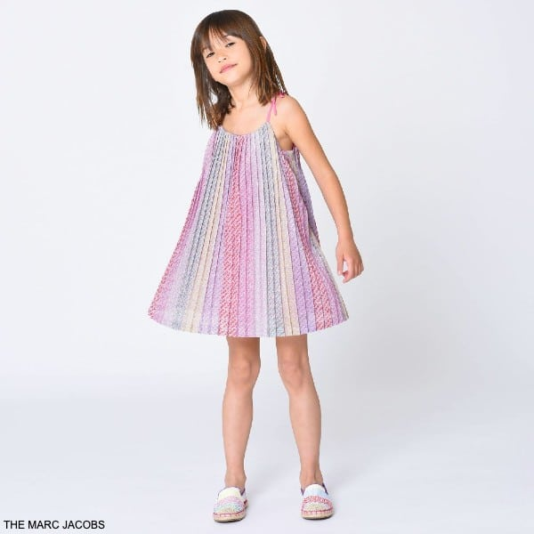 The Marc Jacobs Girls Pink Pleated Logo Sleeveless Party Dress
