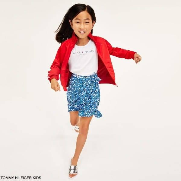 Tommy Hilfiger Kids Girls Blue Animal Logo Print Viscose Skirt