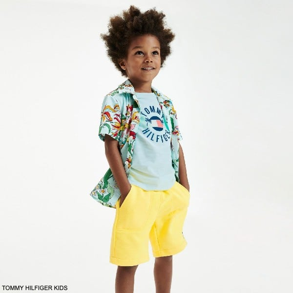 Tommy Hilfiger Kids Light Blue Logo Organic Cotton T-Shirt Yellow Shorts