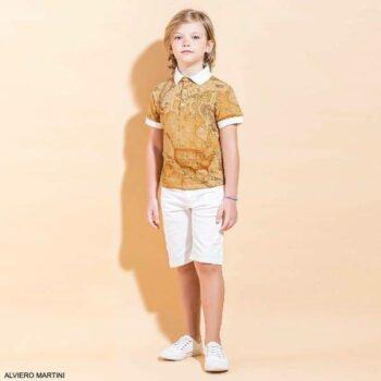 Alviero Martini Boys Dark Beige Geo Map Polo Shirt White Bermuda Shorts