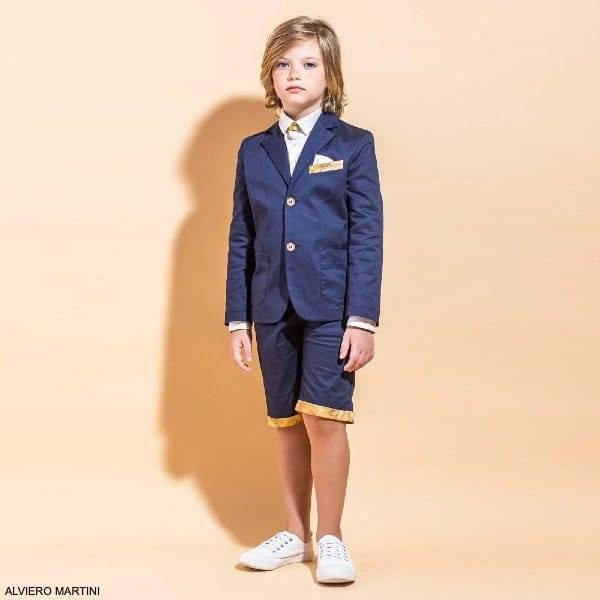 Alviero Martini Boys Navy Blue Short Suit Beige Geo Map Shirt