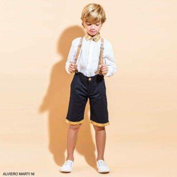 Alviero Martini Boys White Geo Map Dress Shirt Navy Bermuda Shorts