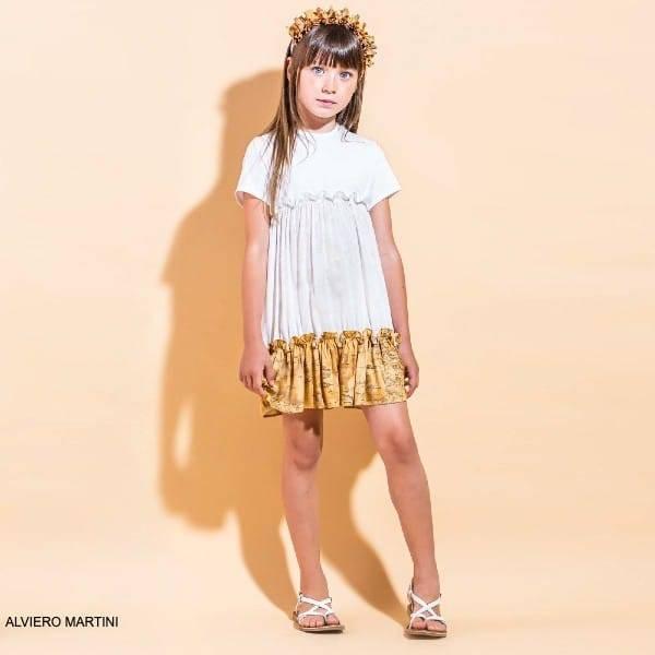 Alviero Martini Girls White Beige Geo Map Ruffle Hem Party Dress