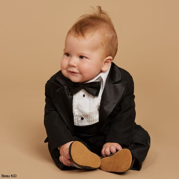 Beau kid Baby Boys 5 Piece Black Tuxedo Special Occasion Suit