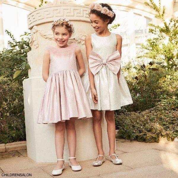 Childrensalon Occasions Girls Pink Gold Metallic Tulle Flower Girl Dress