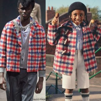 GUCCI Boys Mini Me Red White Blue Check Wool Coat