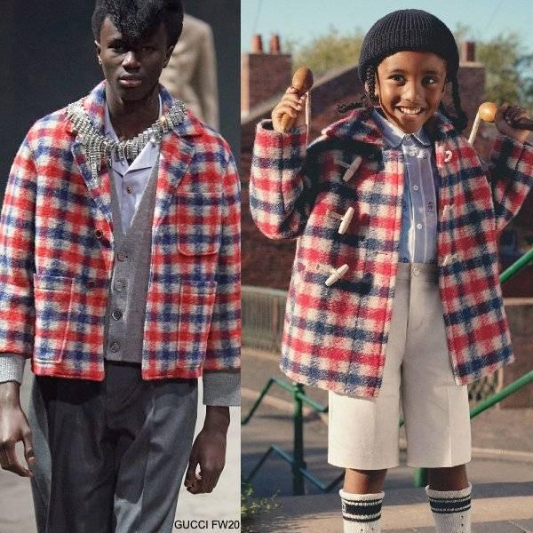 GUCCI Boys Mini Me Red White Blue Check Wool Coat