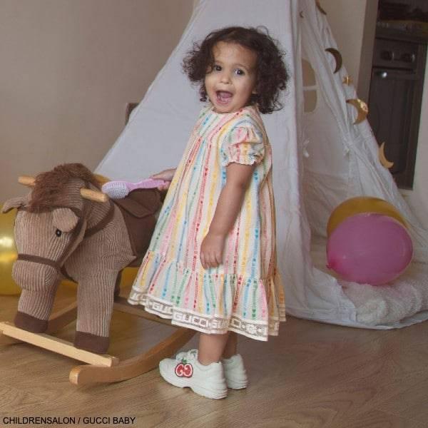 Gucci Baby Girls Ivory Cotton GG Stripe Star EID Party Dress