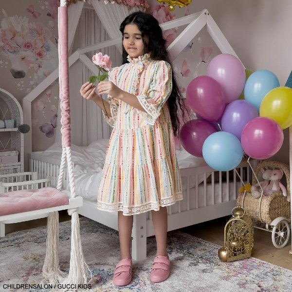 Gucci Girls Ivory Cotton GG Stripe Star EID Special Occasion Dress