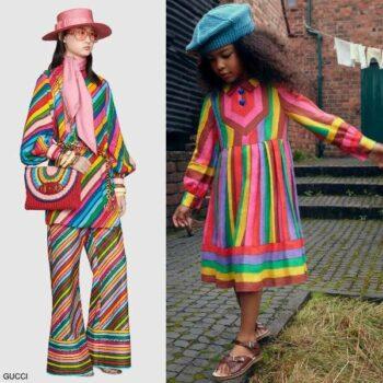 Gucci Girls Mini Me Multi-Color Stripe Linen Ken Scott Epilogue Party Dress