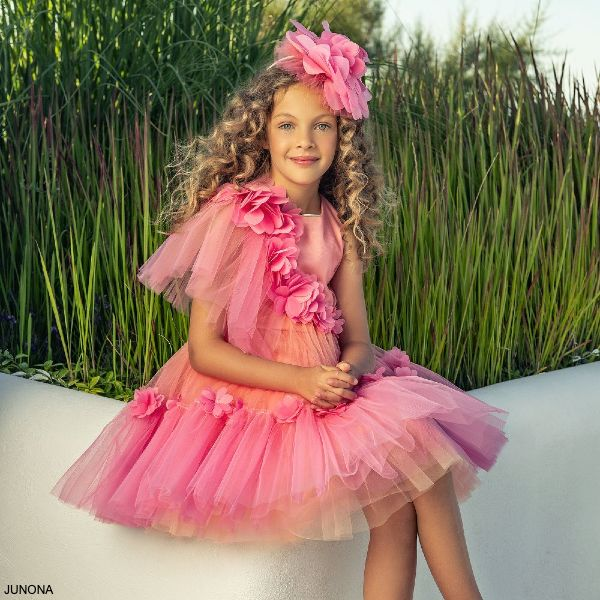 Junona Girls Pink Ombre Tulle Chiffon Petal Trim Special Occasion Dress