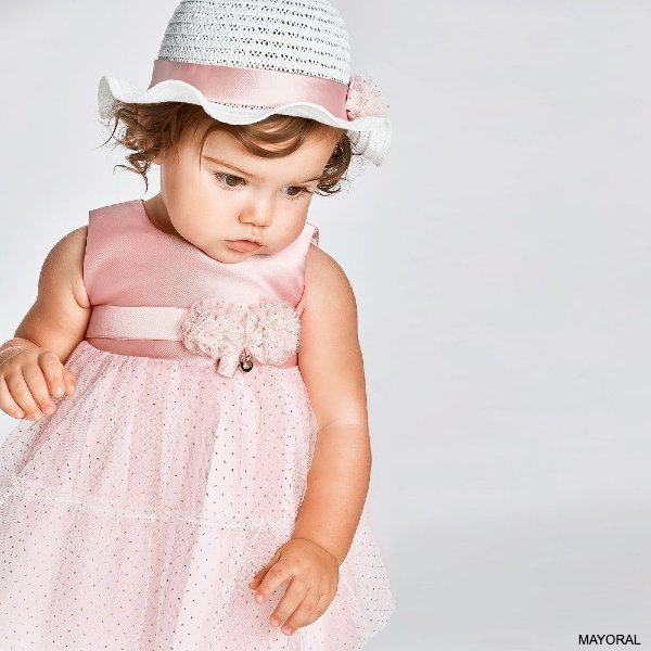 Mayoral Baby Girls Pink Satin Gold Dotted Tulle Flower Party Dress