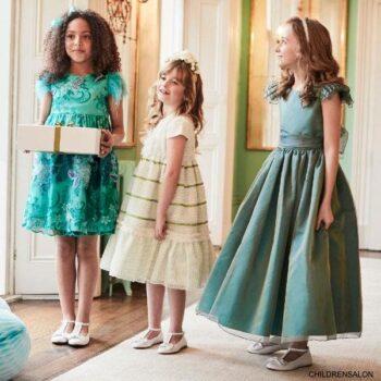 Nicki Macfarlane Girls Blue Green Silk Organza Flower Girl Dress
