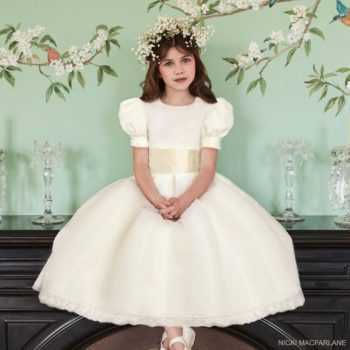 Nicki Macfarlane Girls Ivory Silk British Royal Family William Kate Flower Girl Dress
