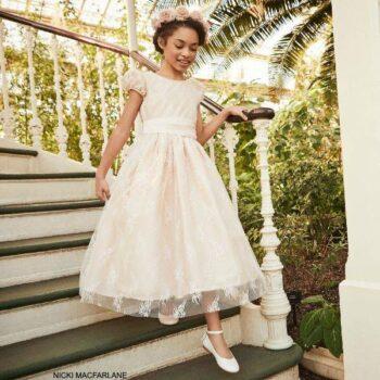 Nicki Macfarlane Girls Pale Pink Taffeta Lace Flower Girl Dress