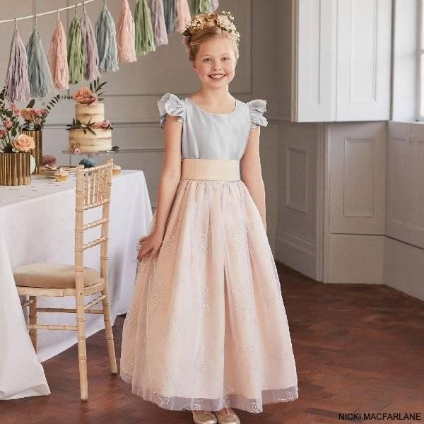 Nicki Macfarlane Girls Pink Silver Silk Tulle Special Occasion Dress