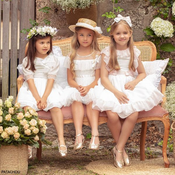 Patachou Girls Ivory Pink Chiffon Flower Girl Special Occasion Dress