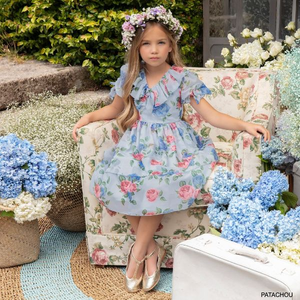 Patachou Girls Pale Blue Floral Print Chiffon Special Occasion Dress