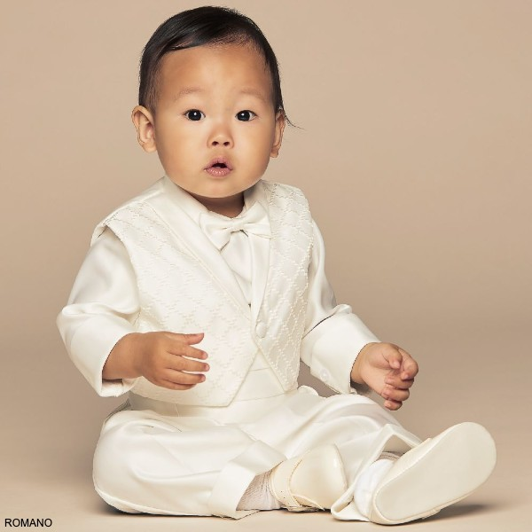 Romano Baby Boys Ivory 5 Piece Special Occasion Tuxedo Suit